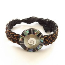 ABALONE SHELL LEATHER WOVEN TIE ON BRACELET ORANGE AND BLACK MOTHER OF PEARL image 1