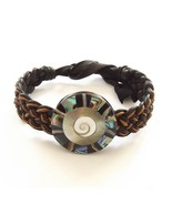 ABALONE SHELL LEATHER WOVEN TIE ON BRACELET ORANGE AND BLACK MOTHER OF P... - $9.45