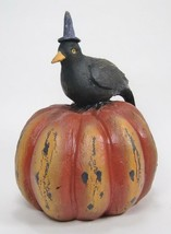 Black Crow Wearing Witches Hat Sitting on Orange Halloween Pumpkin 7 Inc... - $17.77