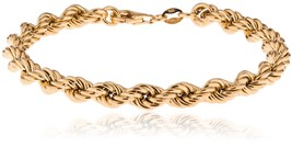 """Sterling Silver Rope Chain Bracelet Italian Made -7.5""""Gold Plated - $75.60"""