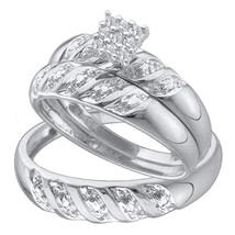 14k White Gold His & Her Round Diamond Cluster Matching Bridal Wedding Ring Set - $500.00