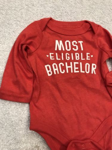 One-Piece Body Suit New Born 6 - 8.5 Lbs Anthem Red Most Eligible Bachelor