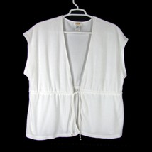 TALBOTS Cover-Up 3X White Terry Cloth Drawstring Beach Pool Lounging Top... - $17.87