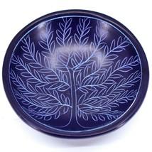 Tabaka Chigware Carved Kisii Soapstone Dark Blue Tree of Life Trinket Bowl Kenya