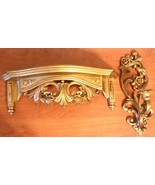 """Vintage 1971 Homco Gold Tone 15"""" Candle Holder Sconce & Shelf All Wall 4118 - $30.68"""