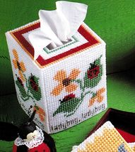 Plastic Canvas Ladybug Tissue Cover Inchworm Tote Teapot Coaster Sampler Pattern - $6.99