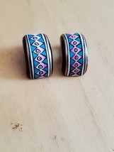 Hand Painted Wood Clip On Earrings Native Design Jewelry Style Fashion Simple - $5.29