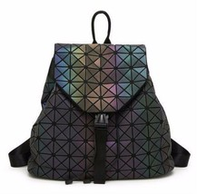 Women Backpack Geometric Shoulder Student's School Bag Holograms Luminou... - $37.97