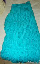 Turquoise Blue Knitted Afghan Throw Blanket   - $59.95