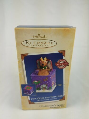 2005 Hallmark Pop Goes the Reindeer 3rd Jack-in-the-Box  Ornament Purple image 7