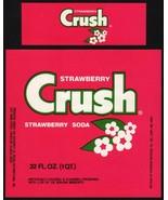 Vintage soda pop bottle label STRAWBERRY CRUSH SODA unused new old stock... - $9.99