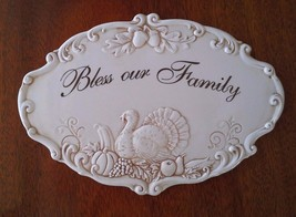 Creative Co-Op BLESS THIS FAMILY Ceramic Tile Wall Plaque Scalloped Edge... - $35.00