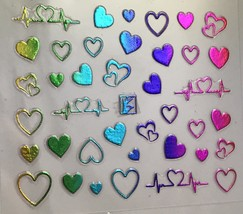 BANG STORE Nail Art 3D Decal Stickers Multicolored Metallic Heart Heartb... - $3.68