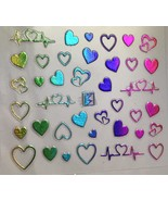 BANG STORE Nail Art 3D Decal Stickers Multicolored Metallic Heart Heartb... - $72,59 MXN