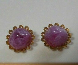 Vintage Signed STAR Marbled Lavender Lucite Dome Clip-on Earrings - $44.55
