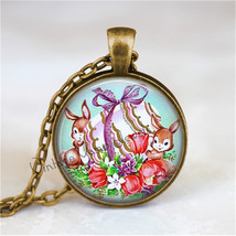 Rabbit Pendant Necklace Easter Bunny Jewelry Easter Eggs, Vintage Easter Necklac - $12.95