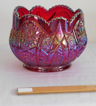Vintage Indiana Glass Ruby Sunset Heirloom Hobstar Arches Pattern Fruit ... - $24.99