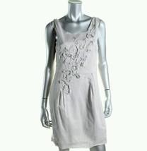 Ann Taylor Loft Gray Cotton Ribbon Beaded Front Lined Sheath Dress Sz 4 - $30.84