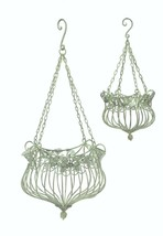 S/2 Hanging Planters Mint Green Victorian Style 2 sizes Wrought Iron Metal - $99.95