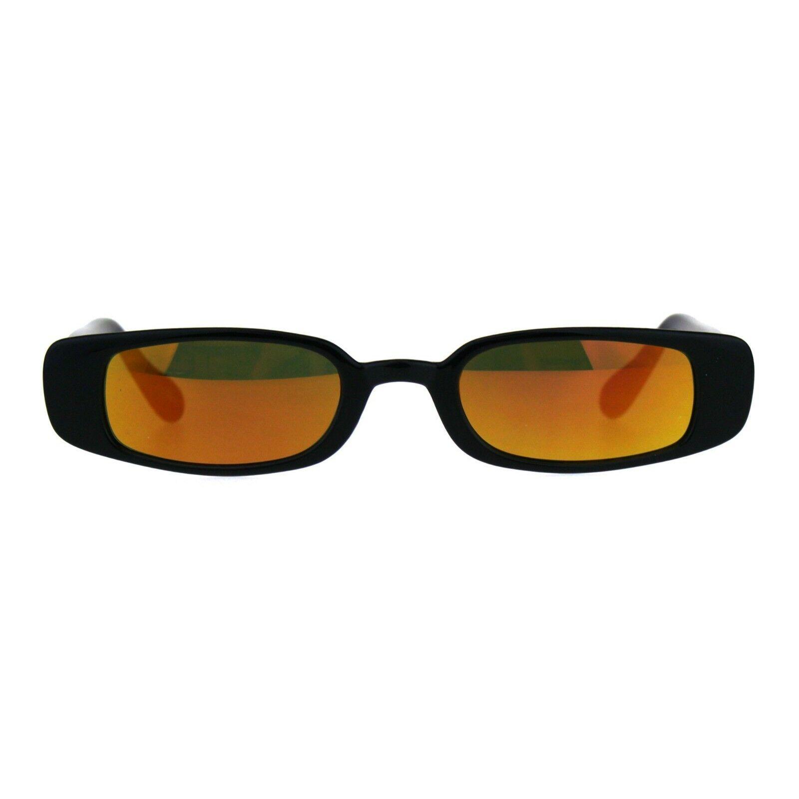 Super Slim Sunglasses Womens Thin Rectangular Fashion Mirror Lens UV 400