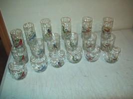 18 piece BAR SET Collins, Rock & Wine glasses WILD BIRDS gold trim STUNNING - $49.45
