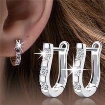 1 Pair New Beautiful Silver Plated Women White Gemstones Hoop Earrings - $8.70