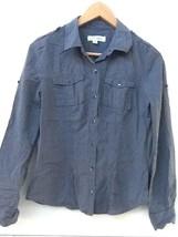 Calvin Klein Women's Gray Shirt Striped Button Down Long Sleeve Convertible  XS - $11.95