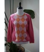 Charter Club 100% 2-ply cashmere Pink Argyle Crew neck Sweater shrunk Pi... - $18.99