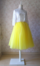 Yellow Puffy Midi Tulle Skirt Plus Size Tulle Tutu Skirt 6-layered Yellow Skirt  image 5