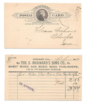 Sc UX9 1891 Chicago IL US Postal Card Preprinted Brainards Sons Co Music... - $5.99