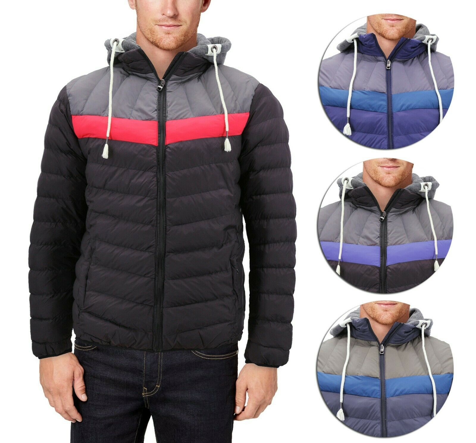 Men's Retro Puffer Rain Coat Removable Hood Lightweight Zipper Slim Fit Jacket