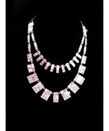Stunning BIG rhinestone signed Necklace - couture baguette jewelry - hig... - $145.00