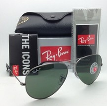 Ray-Ban Sunglasses LARGE METAL RB 3025 004/58 62-14 Gunmetal w/ Green POLARIZED