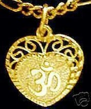 NICE 0488 Gold Plated HEART Charm Pendant Hindu OM Silver - $17.22