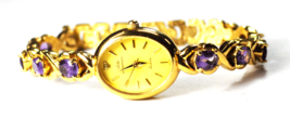 Vintage Womens Jules Jurgensen Quartz 2035 Amethyst Band Wristwatch 19mm - $69.29