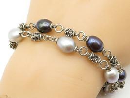 MICHAEL DAWKINS 925 Silver - Vintage Freshwater Blue Pearl Chain Bracele... - $92.74