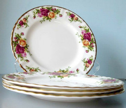 Royal Albert Old Country Roses 4 Salad Dessert Plates Set Boxed New - $96.90