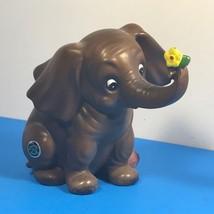 Vintage Elephant Figurine Statue Sculpture Josef Originals Japan Yellow Flower - $29.65
