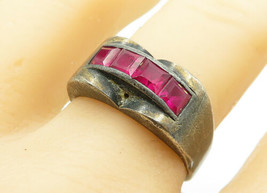 925 Sterling Silver - Vintage Pink Topaz Dark Tone Band Ring Sz 9 - R12341 - $27.91