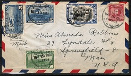 COSTA RICA MIXED AIRMAIL COVER to SPRINGFIELD,MASS. USA-(May 10 1952) (O... - $4.90