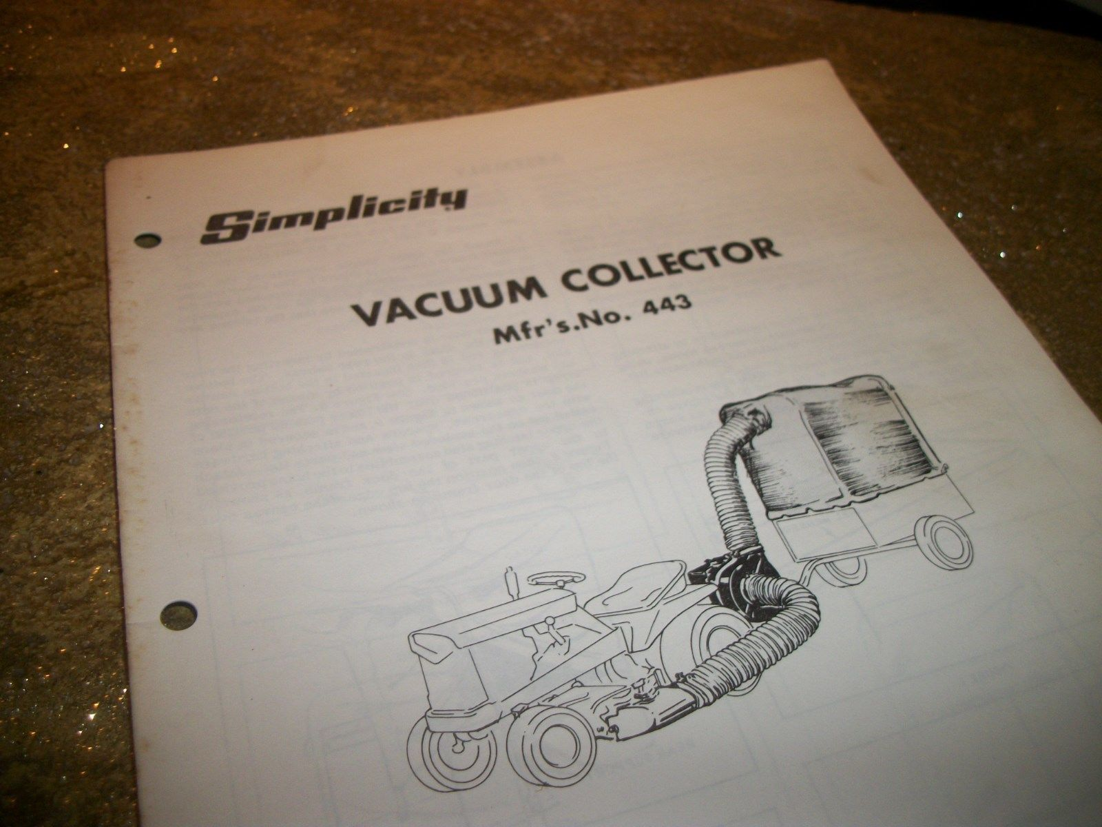 SIMPLICITY VACUUM COLLECTOR# 443  owners manual/parts list