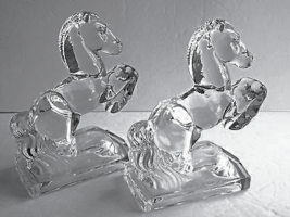 "Vtg 2 New Martinsville Crystal Rearing Horse Bookends 7.5"" H - $74.99"