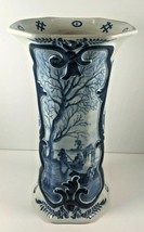 """Antique Delft Vase Signed Blue White Octagonal 9"""" Tall Water Scene boat tree - $198.00"""