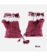 Genuine Fur Trimmed Fingerless Gloves Wine Free Shipping - $20.00