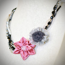 Pink Grey Black Multi Strands Fabric Floral Asymmetric Necklace With Col... - $24.95