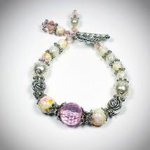 Pink Tourmaline Rosy Crystal Bracelet, Pink Crystal Bracelet, White Gems... - $22.50