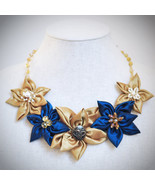 Navy Blue Gold Daisy Fabric Floral Handmade Statement Necklace w/ Yellow... - $24.95
