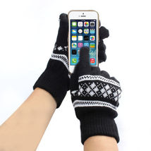 Touch Screen Friendly Adult Warm Knit Gloves Black Snowflake Free Shipping - $14.00