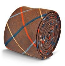 Frederick Thomas Herren braun mit rot & blau kariert,Wolle Tweed Krawatte ft3124
