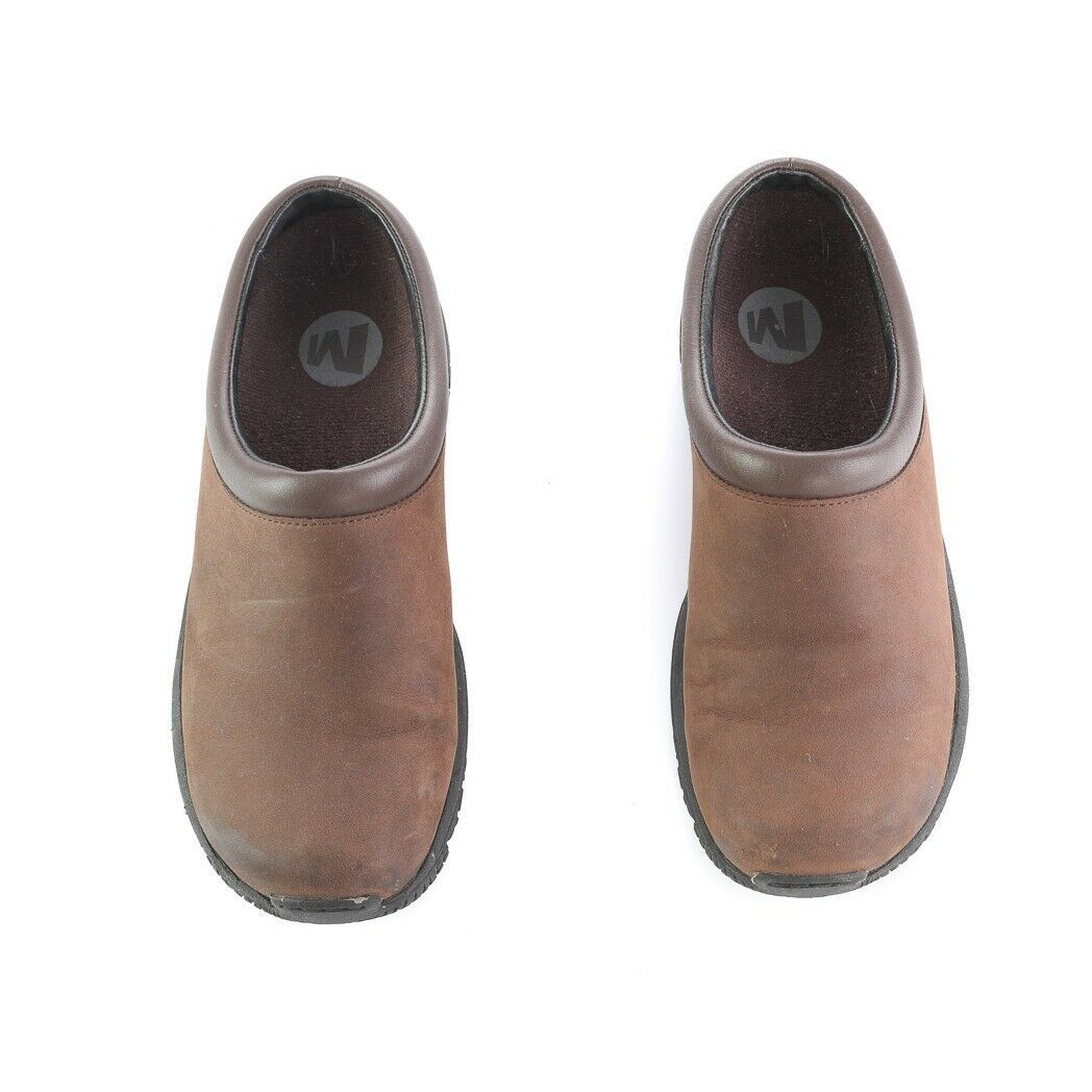 Merrell Encore Groove Brown Nubuck Leather Mules Slip On Comfort Shoes Womens 8 image 3